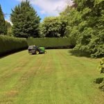 Large garden with tall hedges maintained by SWL Gardening & Landscaping